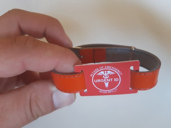 URGENT ID náramek - barexový pásek oranžový