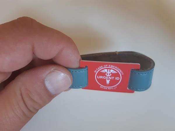 URGENT ID náramek - barexový pásek modrý